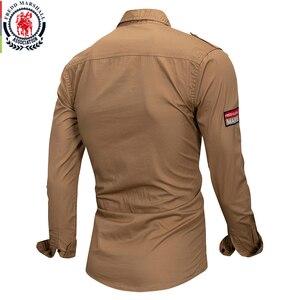 Image 4 - Fredd מרשל 2019 חדש 100% כותנה צבאי חולצה ארוך שרוול מזדמן שמלת חולצה זכר מטען עבודת חולצות עם רקמה 115