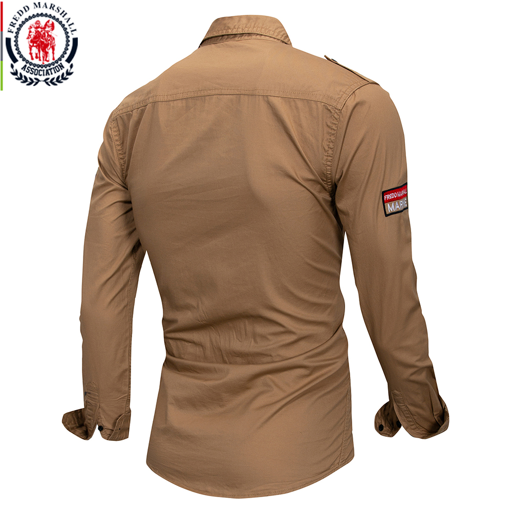 Image 4 - Fredd Marshall 2019 New 100% Cotton Military Shirt Men Long Sleeve Casual Dress Shirt Male Cargo Work Shirts With Embroidery 115-in Casual Shirts from Men's Clothing
