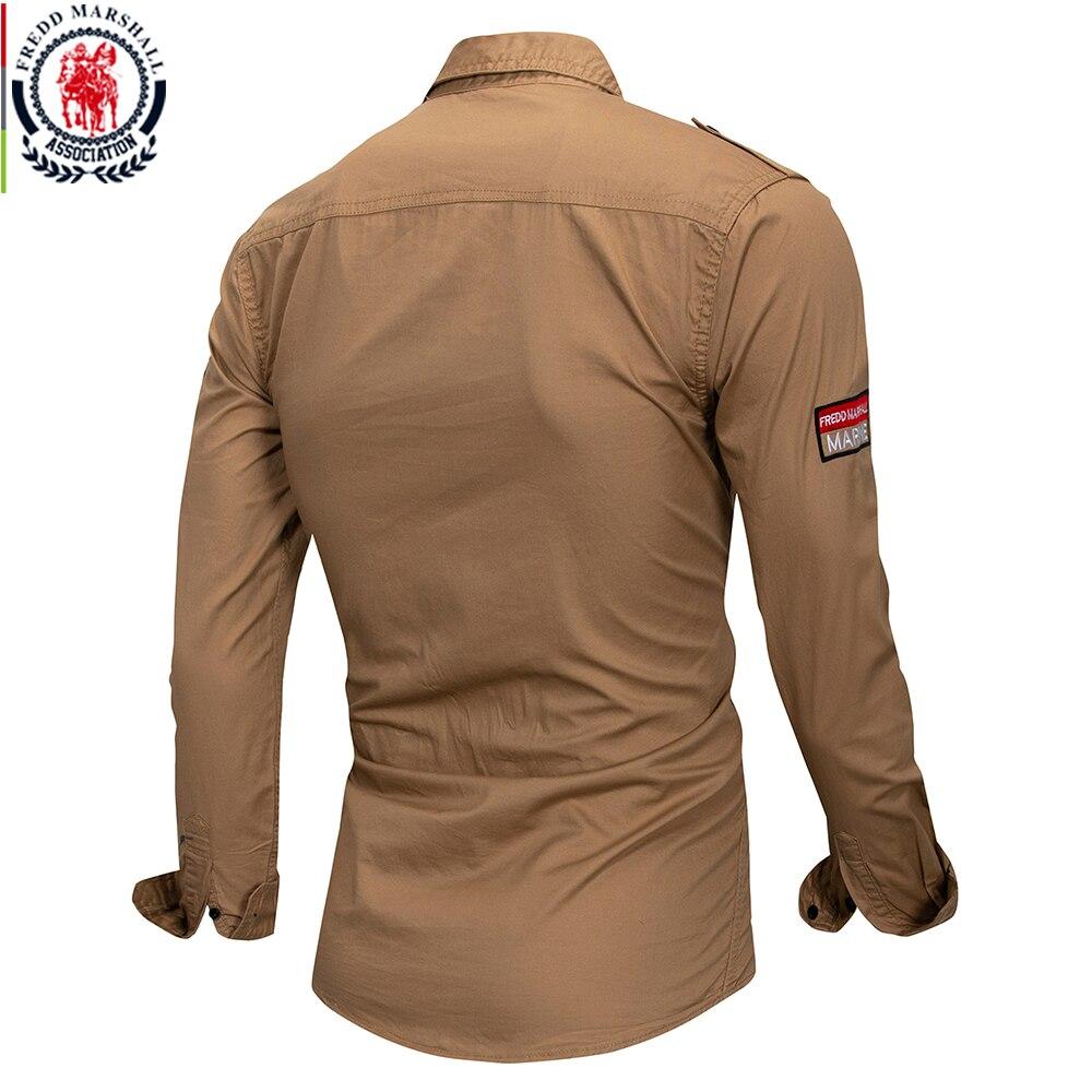 Image 4 - Fredd marshall 2019 novo 100% algodão camisa militar dos homens  de manga longa casual vestido camisa masculina carga trabalho camisas  com bordado 115Camisas casuais