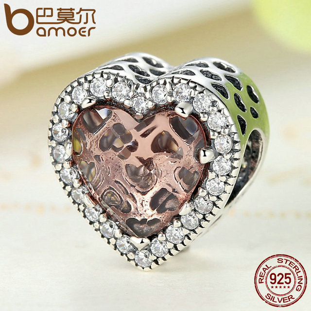 Sterling Silver Love Heart Brown Beads Charm