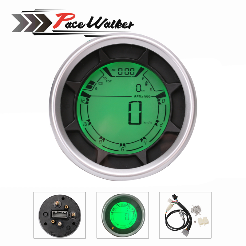 Universal 299 km/h mph 12000 rpm LCD Digital Speedometer Tachometer Odometer Gauge Motorcycle for Honda Yamaha Scooter ATV