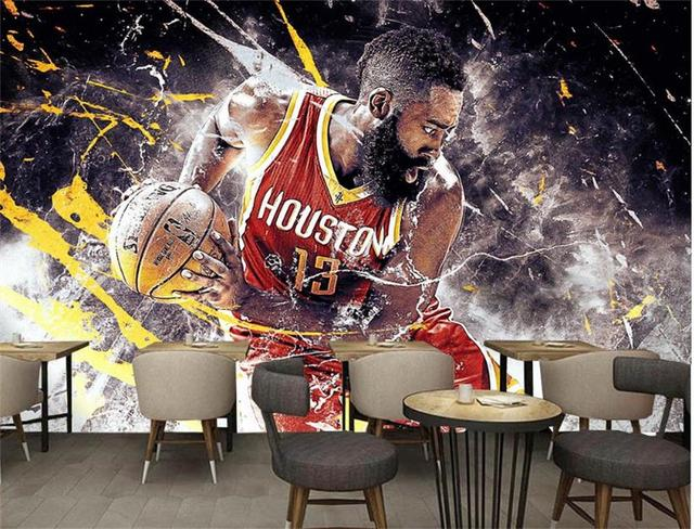 3d Wallpaper Photo Wallpaper Custom Bar Room Mural Ball Game Star James  Harden Painting Picture