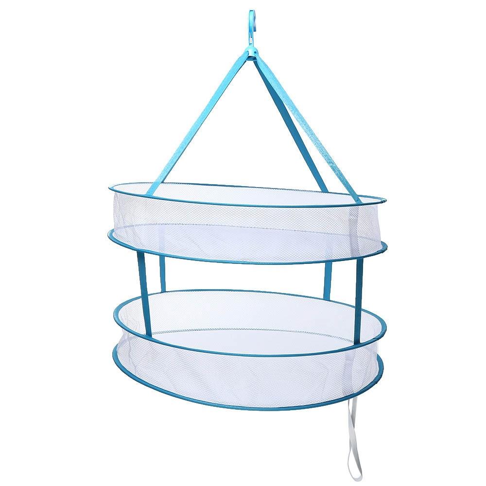 Two-layer Circular Clothes Drying Racks Laundry Basket Hanging Dryer Sock Underwear Bra Drying Mesh Storage Organization Hanger
