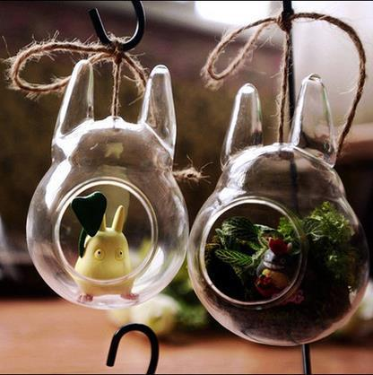 Totoro vase Moss fleshy ecological bottle – Creative glass hydroponic flowers