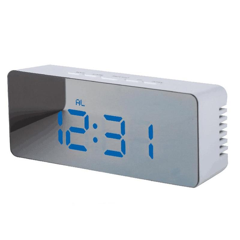 High Definition Multifunction Mirror LED Alarm Clock Digital Slilent Clock Home Office Decor TB Sale
