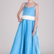 Новое поступление, платье на бретельках, а-силуэт, с бантом и поясом, атласное платье с цветочным узором для девочек