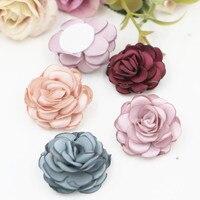 Comercio al por mayor 15 Unids Botón Flatback Tela Patch Etiqueta Hecha A Mano Decoración de Flores para La Muchacha Señora de La Joyería Del Pelo Clip de Diadema
