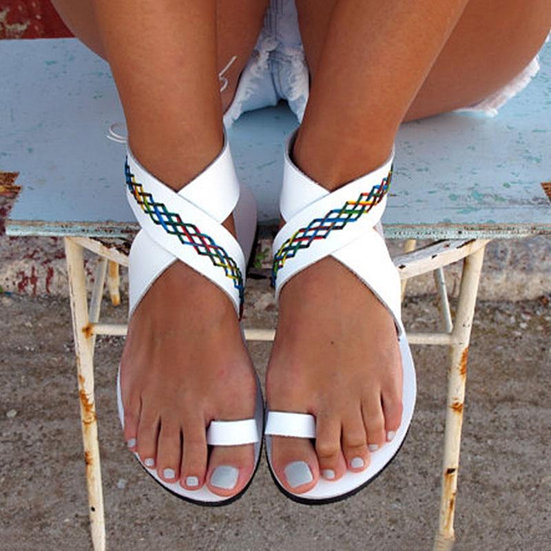 Women Sandals Fashion Beach Shoes For Women Summer Flip Flops Plus Size 35-43 Flats Sandals Gladiator Rome Style Sandale Femme 2017 england style women shoes roman sandals buckle summer flip flops gladiator flat with sandals plus size 35 43