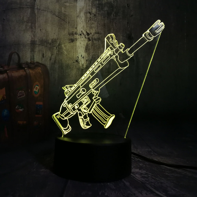 NEW Cool Battle Royale Game PUBG TPS SCAR-L Rifle LED Night Light Desk Lamp RGB 7 Color Boys Kids Toy Home Decor Christmas Gift  2