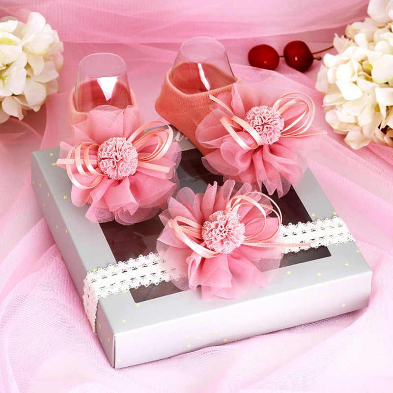 Calcetines de bebé princesa recién nacido encaje flor Bowknot bebé niña calcetines Set antideslizante suelo bebé Sokken Skarpetki regalo con diadema