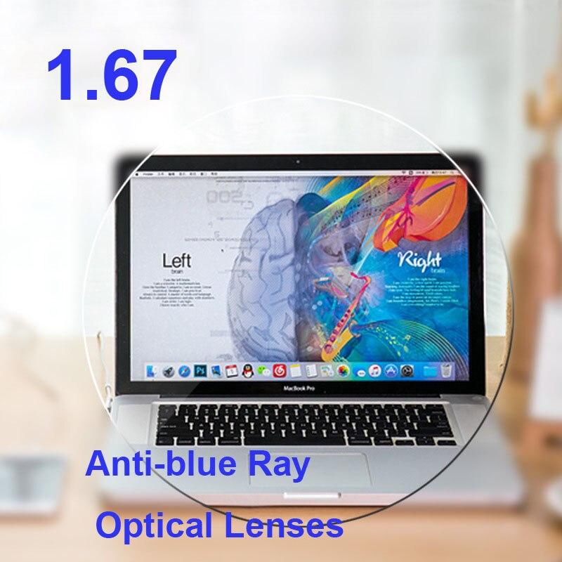 1 67 Index Anti Blue Ray Aspheric Clear Prescription Lenses Optical Lens For Eyes UV Myopia