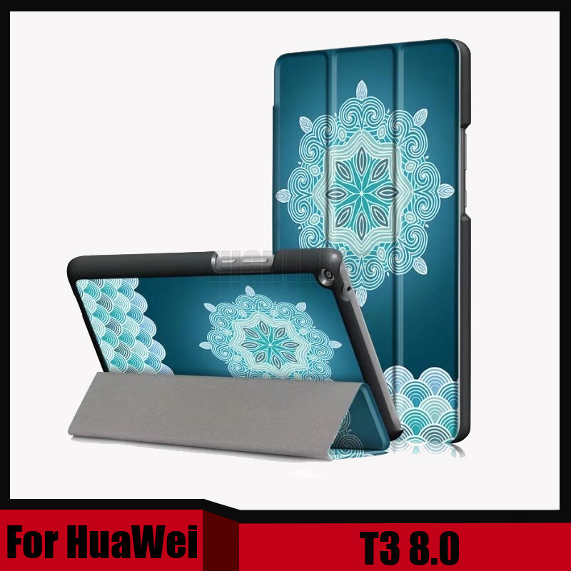3In1 Printing Cover Case For Huawei Mediapad T3 8.0 KOB-L09 KOB-W09 Tablet PC Stand Slim Case For Honor Play Pad 2 8.0 + Gift