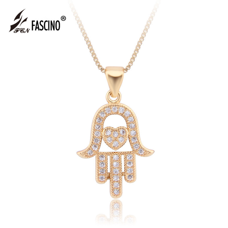 2017 New Collier Fatima Hand Necklaces & Pendants Cubic Zirconia Heart Hamsa Necklace For Women Jewelry Valentine's Day Gifts(China (Mainland))