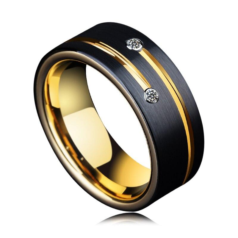 Bague pour hommes, 6/8mm bandes tons noirs tungstène Couple anneaux pour mariage, avec rainure or pierre CZ, livraison gratuite - 6