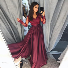 Evening Dresses Long V Neck Lace Long Sleeves Satin Elegant Formal Party Gowns Sexy Side Split Evening Gowns Robe De Soiree цена