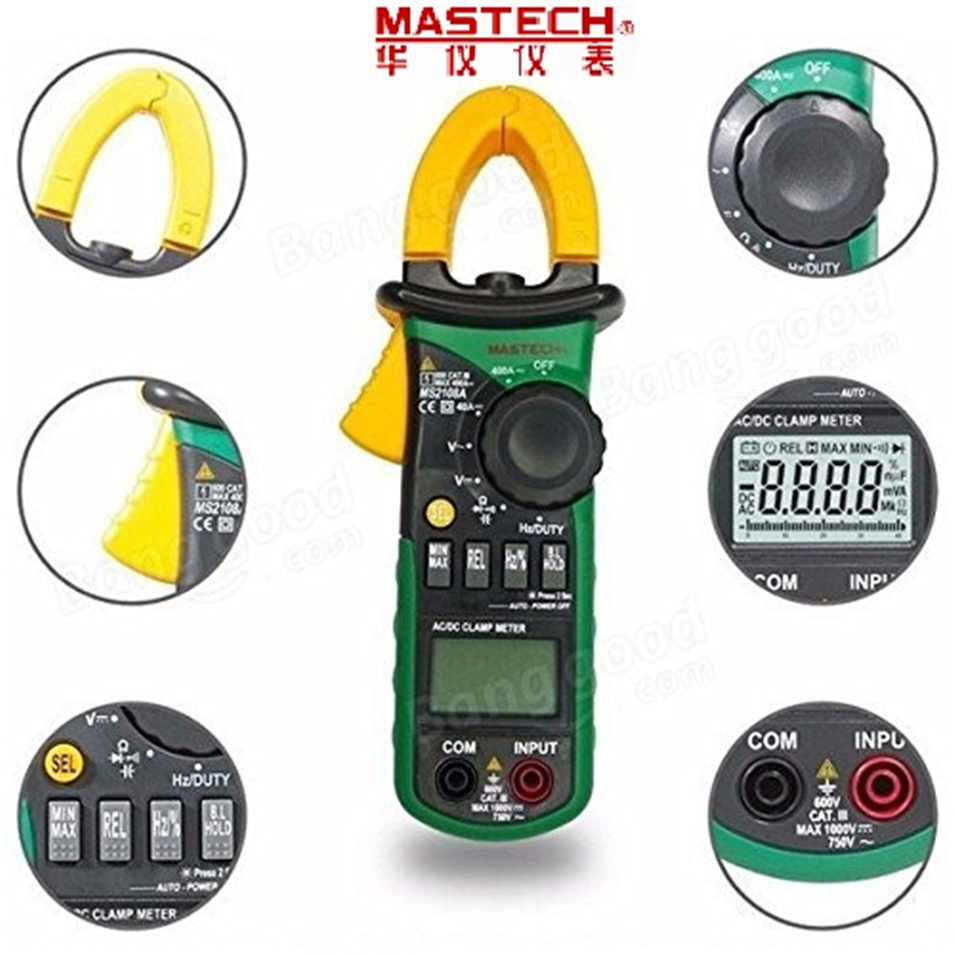 цена на Mastech MS2108A Digital Clamp Meter Auto range Multimeter AC 400A Current Voltage Frequency clamp MultiMeter Tester Back