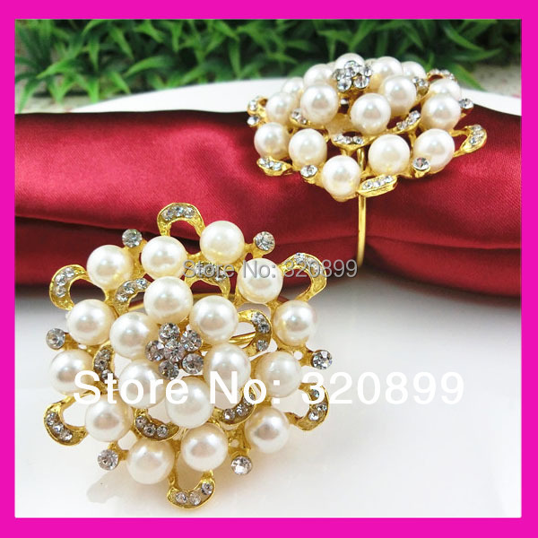 Wholesale ! 200pcs lot gorgeous gold round pearl and rhinestone napkin rings  for restaurant table decoration-in Disposable Party Tableware from Home ... bb285604775c