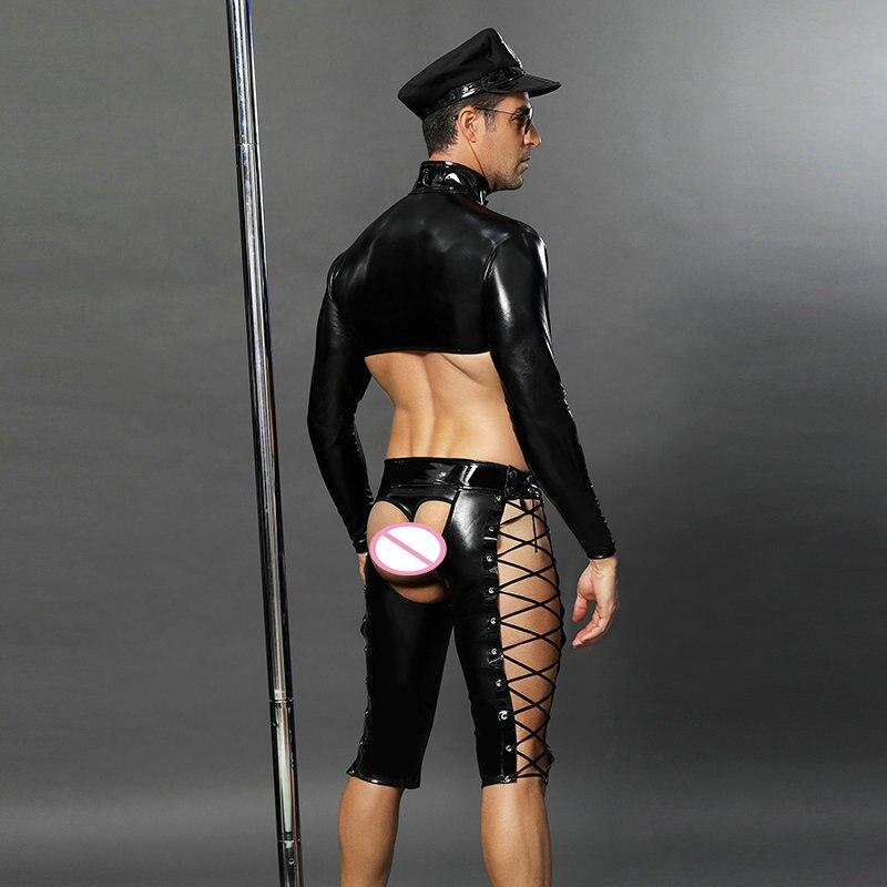 4 pièces PVC Sexy Police hommes Cosplay vinyle cuir Catsuit flic uniforme Lingerie sous-vêtements pour Gay adulte fantaisie Costume - 2