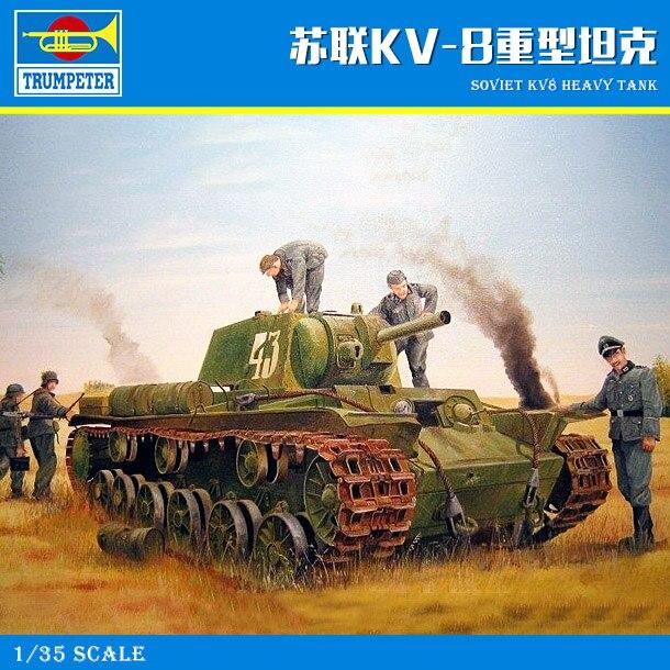 Trumpet 01565 1:35 KV-8 heavy tank of the Soviet Union Assembly modelTrumpet 01565 1:35 KV-8 heavy tank of the Soviet Union Assembly model