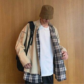 Autumn New Tooling Jacket Men Fashion Casual Plaid Stitching Jacket Man Streetwear Wild Hip Hop Loose Bomber Jacket Male Clothes