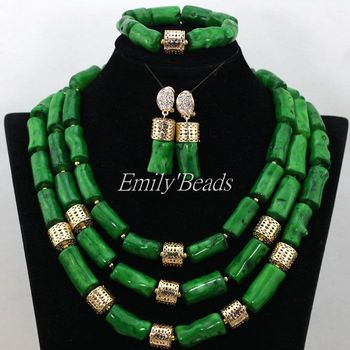 Green Natural Coral Necklace Bracelet Earrings Set African Nigerian Wedding Coral Beads Jewelry Set Free Shipping CJ605