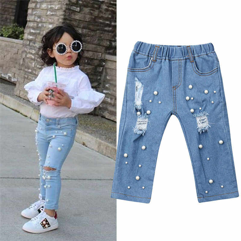 Kids Baby Girls Clothing Children Kds Jeans Summer Casual Shredded Jeans Denim Pants Elastic Trousers Blue Hole Pants
