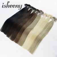 Isheeny 14 1822 Fusion U Tip Hair Extensions Striaght European Remy Human Hair On Capsule Nail Tip Hair 50pcs