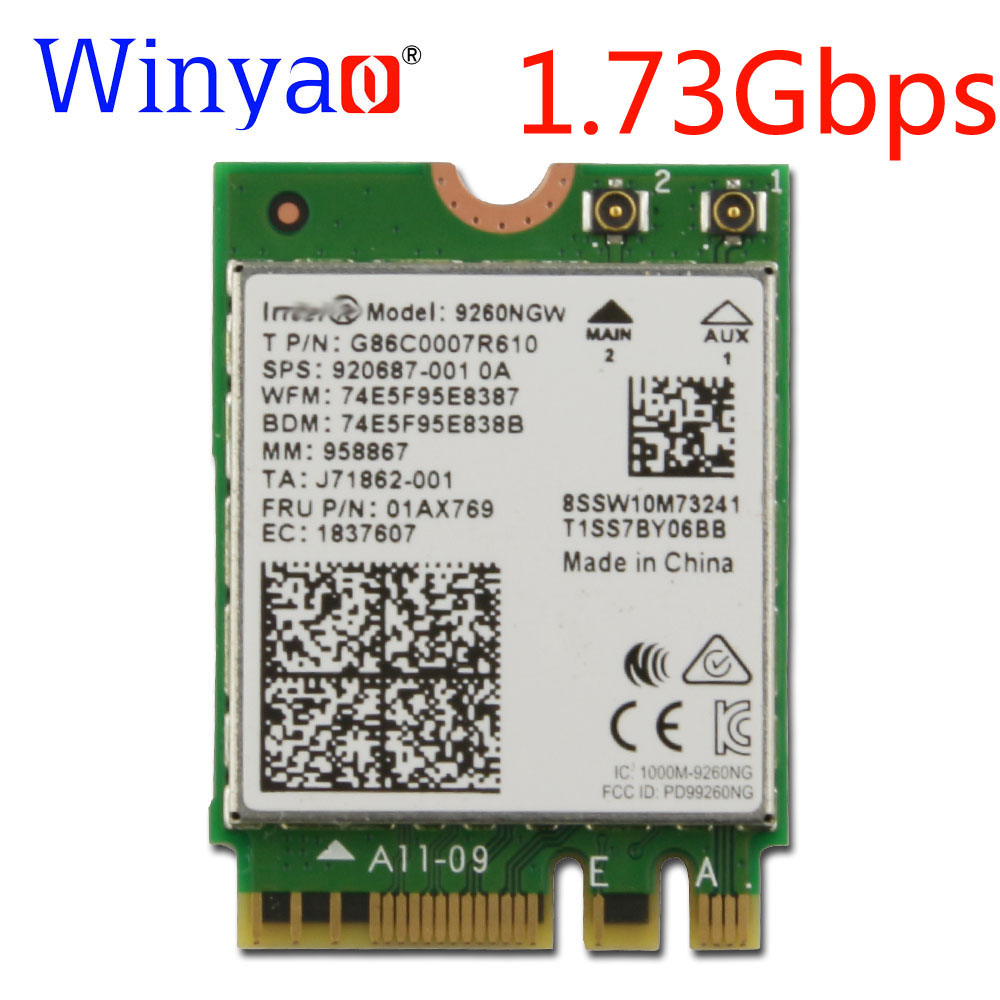 Winyao Wireless AC 9260NGW Dual Band 1.73Gbps Wifi  Card For NGFF 2.4G/5Ghz 802.11ac Wifi Bluetooth 5.0 Network Card 920687-001