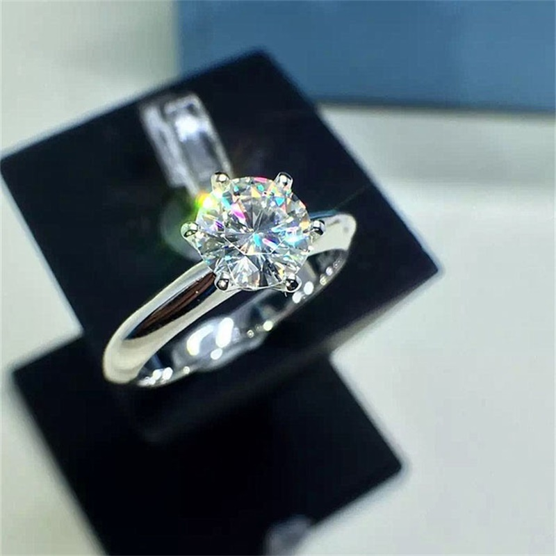 Real Pure Gold Ring 18KRGP Stamp original Rings Set 1 Carat CZ