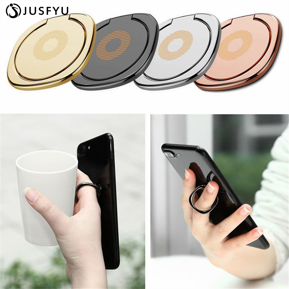 For Magnetic 360-degree Universal Rotating Metal Finger Ring Buckle Mobile Phone Flat Ring Bracket 4 Colors
