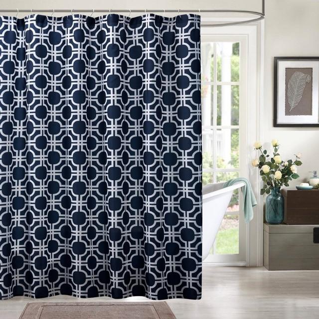 y190001 2sizes dark blue shower curtains for bathroom printed geometric patterns shower curtains. Black Bedroom Furniture Sets. Home Design Ideas