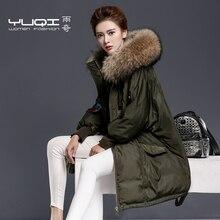 2016 зимняя Куртка женщины Пуховики утолщение вниз пальто Утка вниз пальто женщин большой меховой воротник средней длины вниз Парка