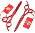 Бесплатная доставка 6.0 '' утончая парикмахерская волосы зубы плоские красные ножницы из нержавеющей стали волос ножничные парикмахер клипер DIY G005