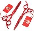 Envío gratis 6.0 '' adelgazamiento dientes pelo rojo plana tijeras de pelo de acero inoxidable peluquería Shear Clipper DIY G005