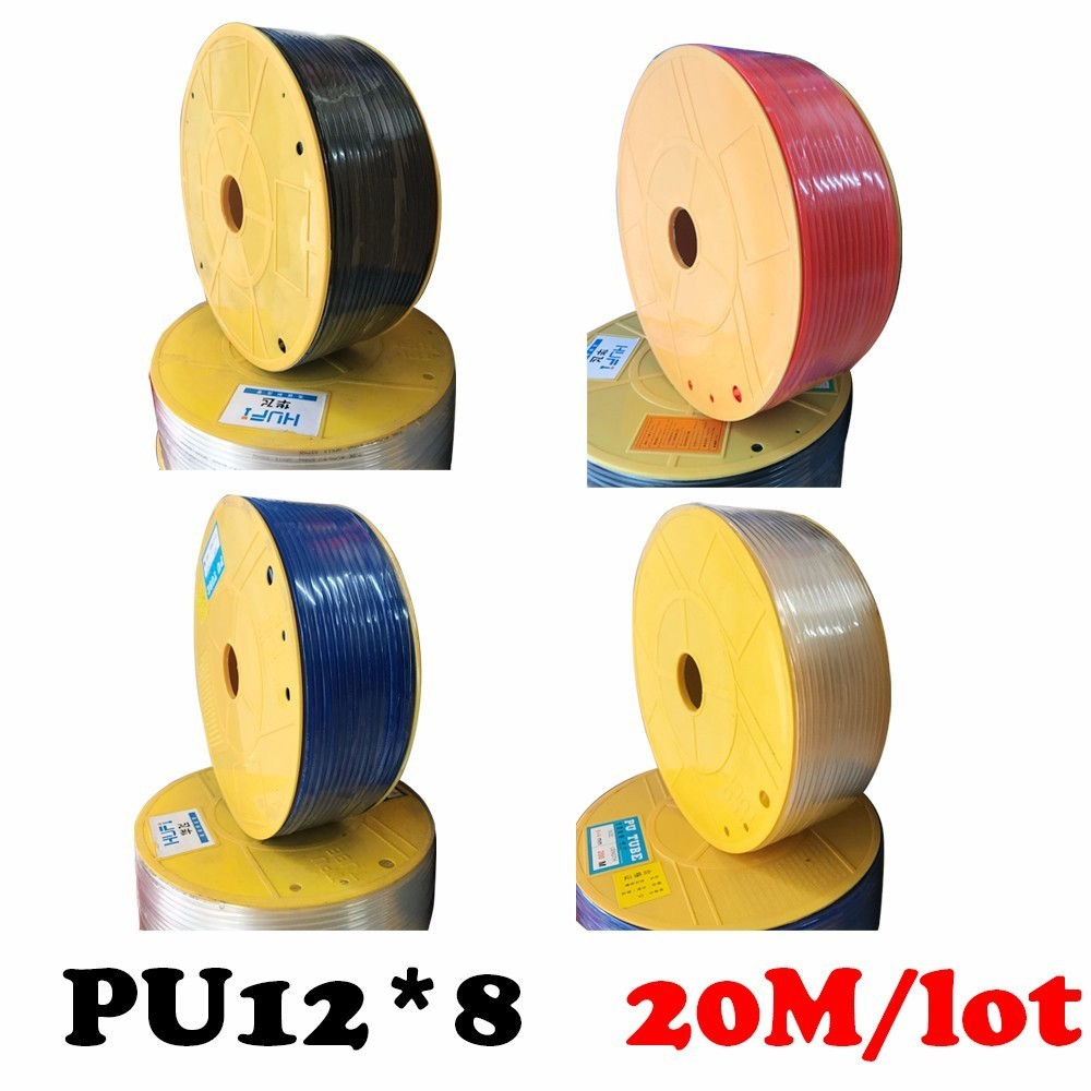 PU12*8 20M/lot Free shipping PU pipe, pneumatic hose, air compressor, trachea, ammonia for air pneumatic hose Compressor hose air compressor 1 2bsp 2 way hose pipe inline manifold block splitter teal blue