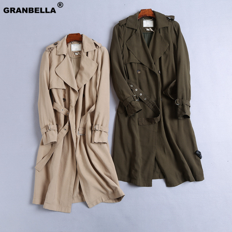 Women Classic Solid Long   Trench   Coat Female Double Breasted   Trench   Sashes England Style Turn-down Collar Outerwear