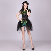 New High Quality 2019 Jazz Dance Costume Female Adult Korean Modern Hip Hop Street Dance Peacock Costumes Suit Sequins Clothes(China)