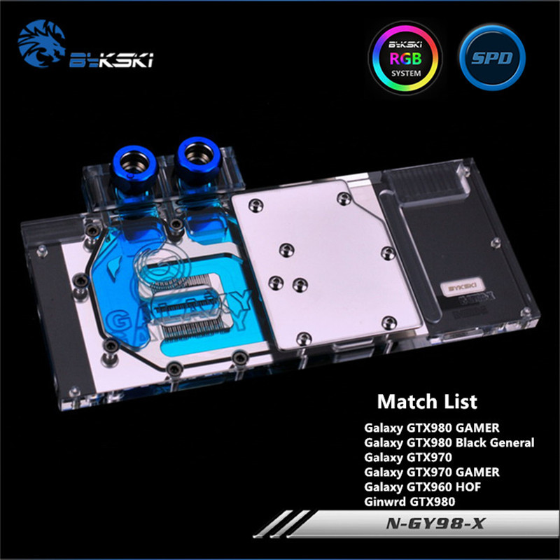 Bykski Full Coverage GPU Water Block For Galaxy Gainward GTX980 970 GAMER Graphics Card N-GY98-X computador cooling fan replacement for msi twin frozr ii r7770 hd 7770 n460 n560 gtx graphics video card fans pld08010s12hh