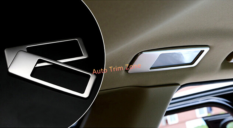 2 PCS Stainless Steel Silver Interior Rear Roof Dome Courtesy Lamp Trim For BMW X5 E70 2008-2013