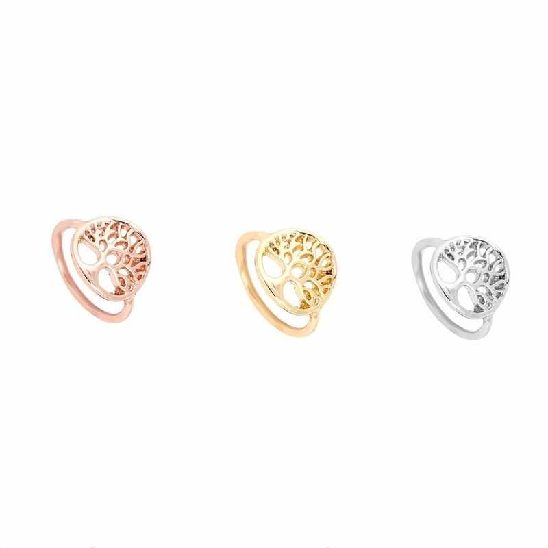 Beautiful Tree of Life Ring Gold Color Hollow Fashion Unique Design Classic Jewelry Lucky Wisdom Tree Rings For Women Men