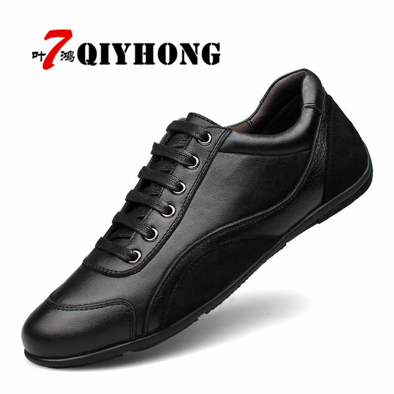 Big Size:36-48 QIYHONG Brand Fashion Full Grain Leather Men Shoes, High Quality Black Men Casual Shoes 2017 brand fashion big size 39 44 men loafers high quality men full grain leather shoes luxury soft leather casual men flats