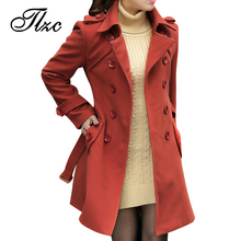 L-5XL ! Elegant Women Long Trench Coats Good Quality 2017 New Double Breasted Winter Woolen Fashion Lady Slim Blend Jackets