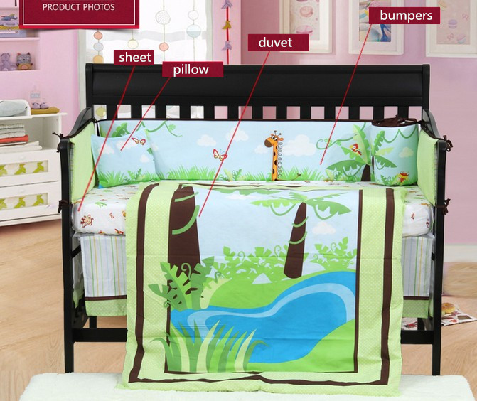 7PCS embroidery baby Bumper bed crib bedding set bed linen ,include(bumper+duvet+sheet+pillow)
