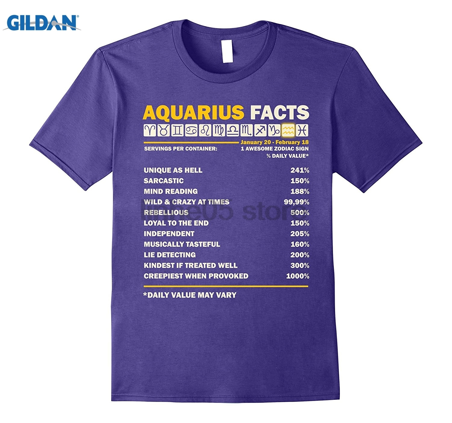 GILDAN Aquarius Facts T Shirt Aquarius Awesome Zodiac Sign Dress female T-shirt ...