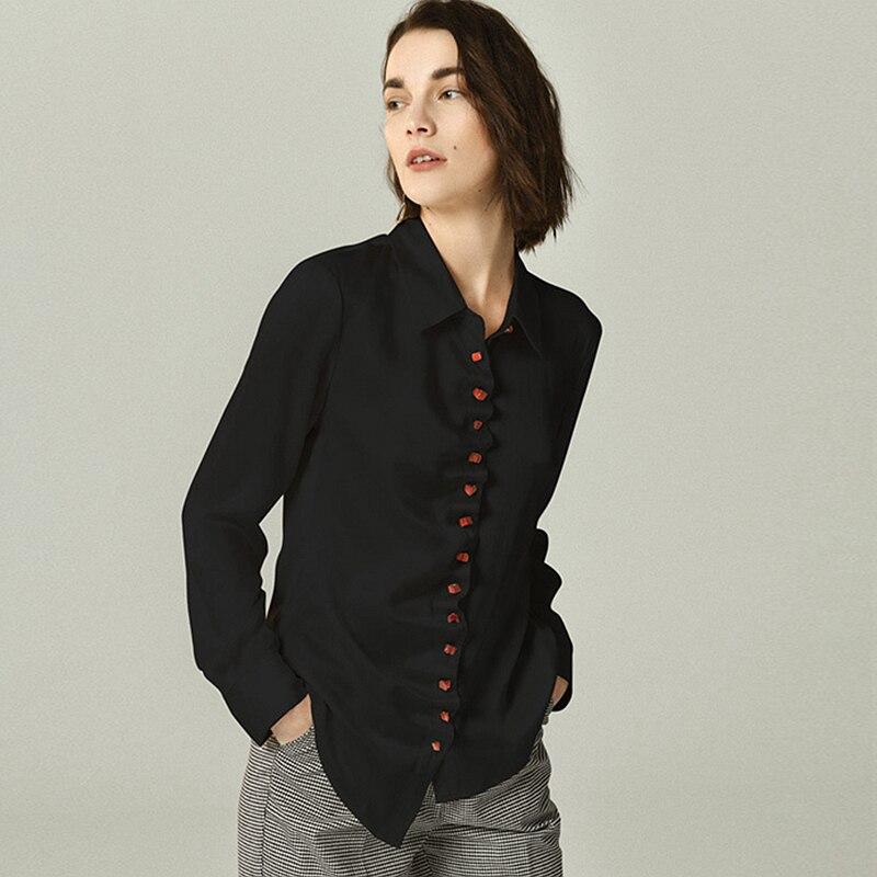 Casual Style e Neue 2019 Welle Shirts Gro Gre SchwarzElfenbein Umlegekragen Langarm Frauen Schwellen 100Seidenbluse Farben 2 Mode Design xBrCQdWeoE