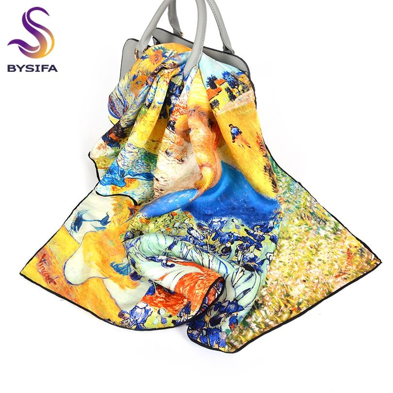 [BYSIFA] Van Gogh Twill Silk   Scarf   Shawl Ladies Fashion Oil Painting Design 100% Silk Square   Scarves     Wraps   Brand Neck Head   Scarf