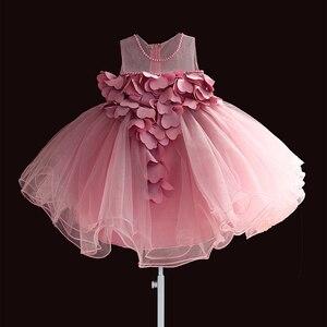 Image 1 - Nowa koronkowa sukienka dla dziewczynek płatek kwiatu szyfonowa sukienka dla księżniczki 1 rok dla dzieci dziewczyny suknie urodzinowe boże narodzenie Vestido 3 M 4 T
