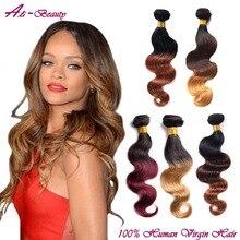 3 ofertas de paquetes 8A extensiones armadura brasileña del pelo ombre brasileño virgen del pelo onda del cuerpo en dos tonos de color ombre cabello humano armadura