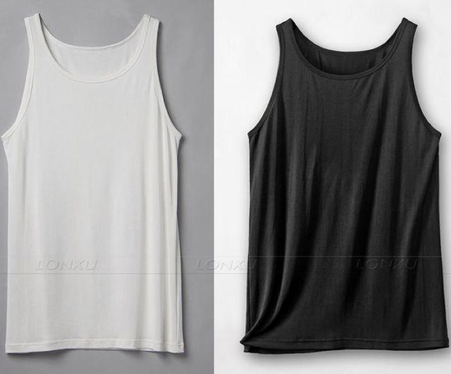 338e55e19fb41 Men s 100% Silk Tank Top Singlet Singlets Tank Tops Plain T-shirts Shirts  Muscle