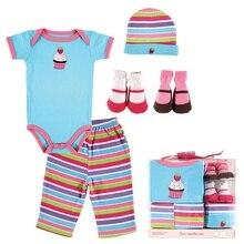 5pcs Baby Layette Set Romper+Baby Pants+Hat +2 Pairs Baby Socks